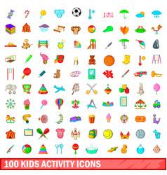 100 kids activity icons set cartoon style vector image