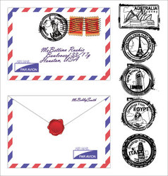 airmail envelope with stamps vector image vector image