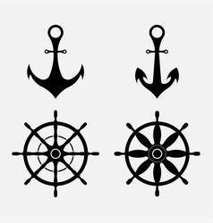 anchor and steering wheel nautical symbols vector image