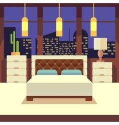 Bedroom interior in flat design style vector image vector image