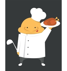 Cook in a white robe with hat and scoop vector image