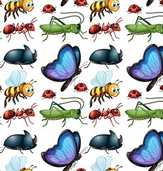 Seamless background design with bugs vector image vector image