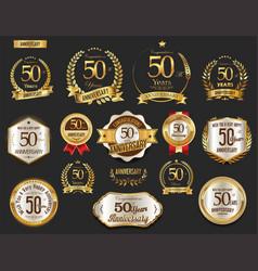 Anniversary golden laurel wreath and badges 50 vector