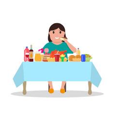 cartoon fat woman at the table vector image