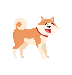 cute smiling akita inu dog character isolated vector image vector image