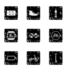 Cycling icons set grunge style vector