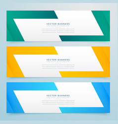 geometric web banners set in different colors vector image vector image