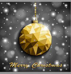 origami style gold christmas toy with shadow on vector image