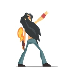 Rock Band Member Funny Character With Long Black vector image