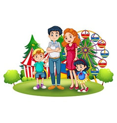 A family at the amusement park vector image vector image