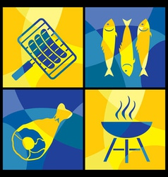 barbecue color cross vector image vector image