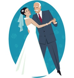 Father of the bride waltzing with his daughter vector image vector image