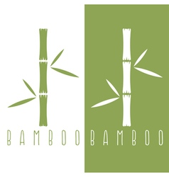 Green bamboo stems and leaves design template vector