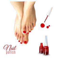 Pedicure nail polish vector