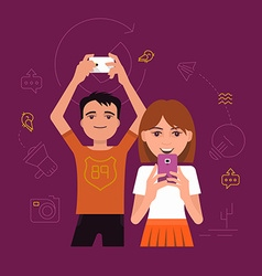 Communication with a Smartphone vector image