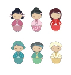 Set of japanese girl in kimono vector image