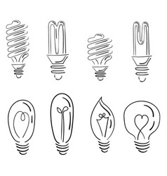 a set light bulbs a collection stylized vector image