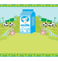 Abstract poster with a carton of milk and cows vector image