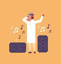 arabic man dj acoustic column music speakers vector image