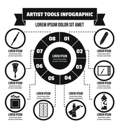 Artist tool infographic concept simple style vector