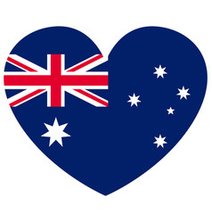 Australian national flag shape heart vector