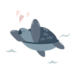 Baby print with blue turtle hand drawn graphic vector
