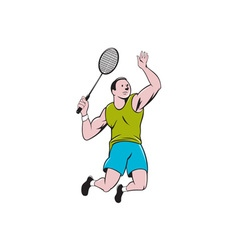 Badminton Player Racquet Striking Cartoon vector