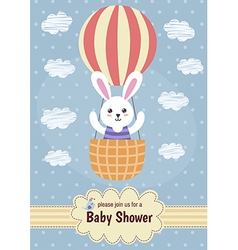 bashower card with a cute rabbit flying on ball vector image