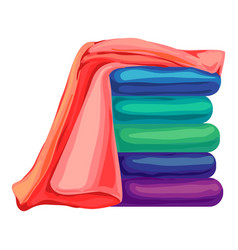 Beach towel stack icon cartoon style vector