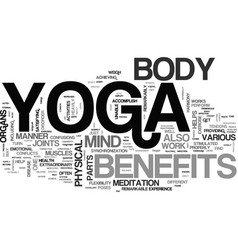 benefits of yoga text word cloud concept vector image