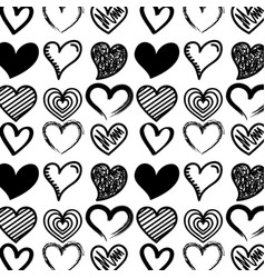 black hearts love drawn decoration seamless vector image
