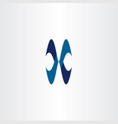 blue x logo icon letter symbol vector image