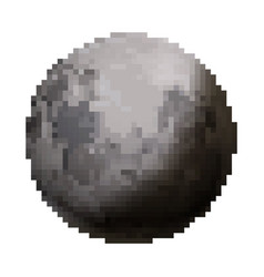 bright glossy moon cute satellite in pixel art vector image