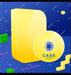 bright yellow realistic disk and box mockup vector image