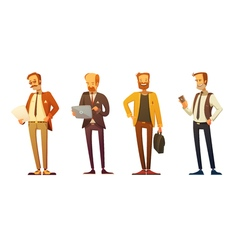 Businessman Dress Code Retro Cartoon Set vector image