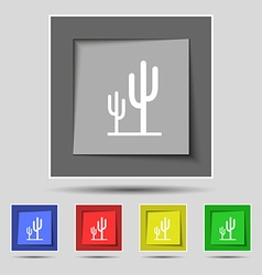 Cactus icon sign on original five colored buttons vector
