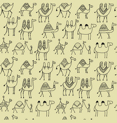 camels caravan seamless pattern for your design vector image
