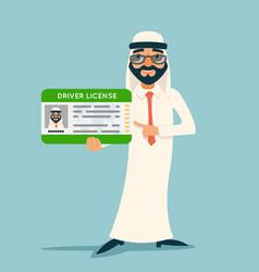 Cartoon character arab car driver license vector