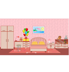 Children bedroom interior with furniture birthday vector