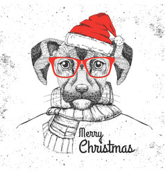 christmas hipster fashion animal dog vector image