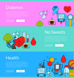 Colored diabetes icons web banner templates vector