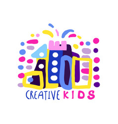 creative kids logo design template labels and vector image
