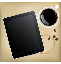 Cup Of Coffee With Tablet Computer vector image