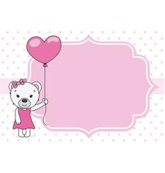 cute bear with balloon vector image