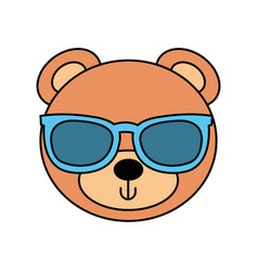cute bear with sunglasses teddy face toy gift vector image