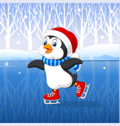 Cute cartoon penguin doing ice skating with winter vector