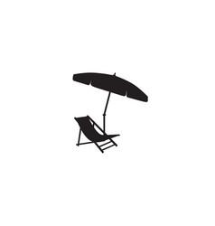 deckchair umbrella summer beach holiday symbol vector image