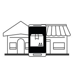 delivery and logistics black and white vector image