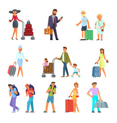 different travelers characters vector image
