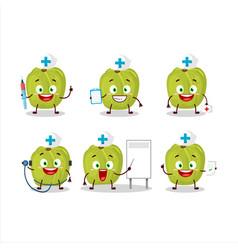 Doctor profession emoticon with amla cartoon vector